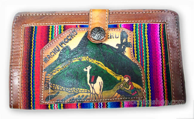 03 Andean Documents Holder Handmade Leather and Cusco Blanket