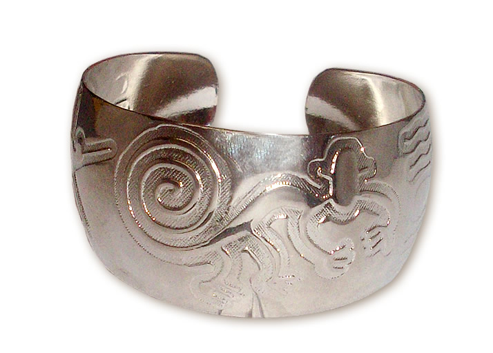 12 Wholesale Nickel-Plated Cuff Bracelets handmade Nazca Design