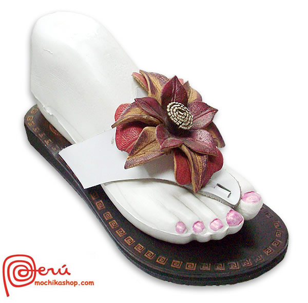 Cute Peruvian Andean Leather Sandals Center Flower Model 03
