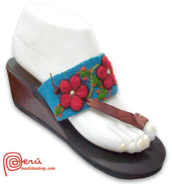 Gorgeous Peru Andean Woven Embroidered Leather Sandal Model 05