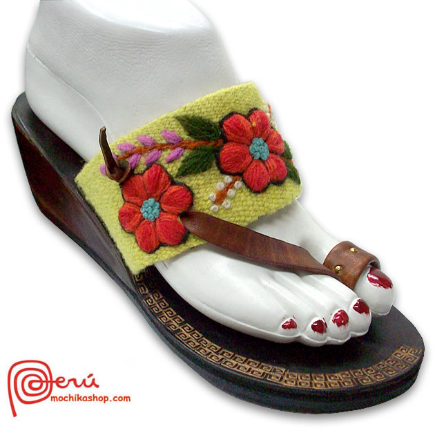 Nice Peruvian Andean Woven Embroidered Leather Sandal Model 02