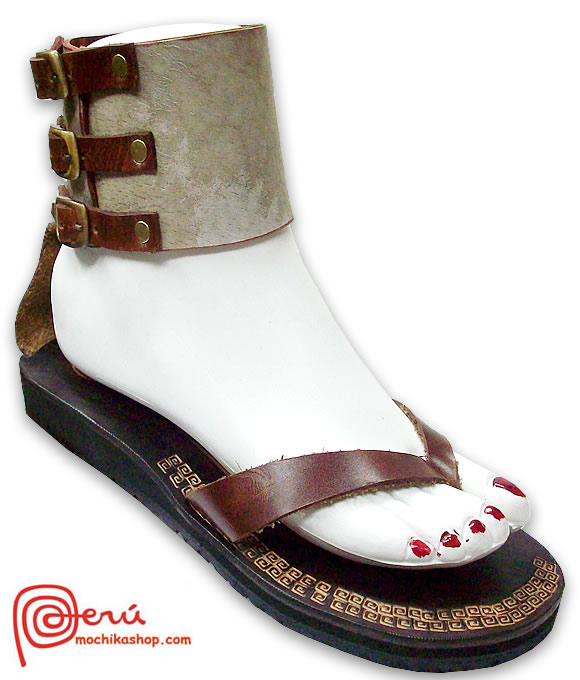 Beautiful Peruvian Andean Leather Sandals Anklet Design Model 03