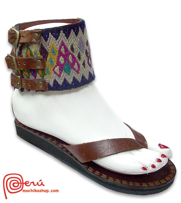 Pretty Peruvian Andean Leather Sandals Anklet Design Model 01