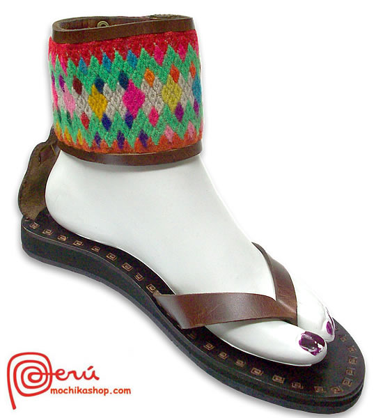 Nice Peruvian Andean Leather Sandals Anklet Design Model 02