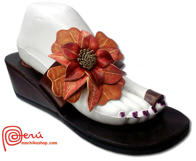 Gorgeous Peruvian Andean Leather Sandals Side Flower Model 05