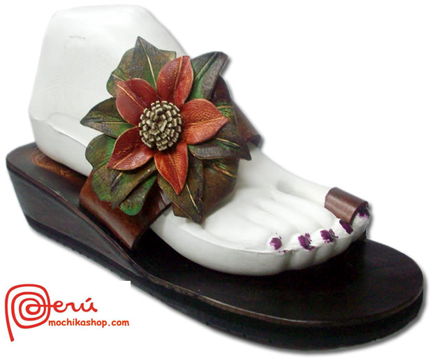 Precious Peruvian Andean Leather Sandals Side Flower Model 04