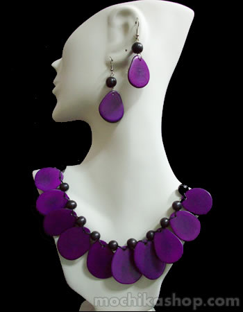 06 Nice Handmade Tagua Sets Necklaces Flat Seed Design