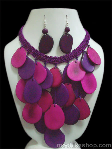 Nice Handmade Tagua Sets Necklaces Woven Crochet Design