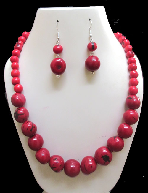 12 Wholesale Handmade Bombona Beads Sets Necklaces and Acai Seed