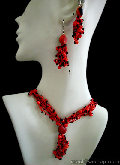 Lot 08 Handmade Huayruro Sets Necklaces Red Woven Crochet