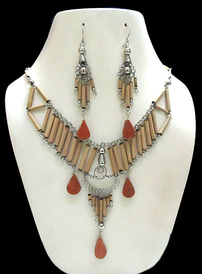 06 Peruvian Exotic Handmade Bamboo Sets Necklaces