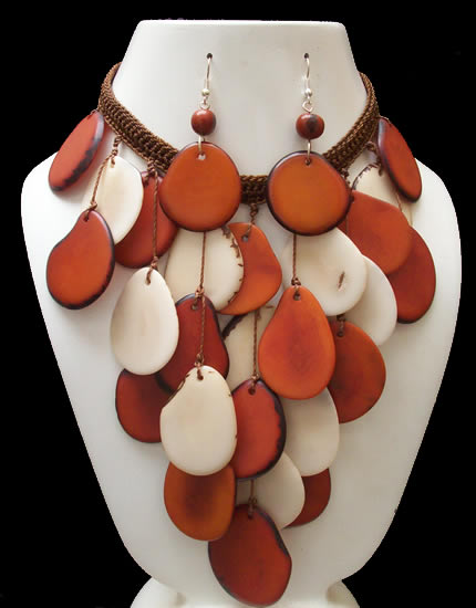 Gorgeous Handmade Tagua Sets Necklaces Woven Crochet Design