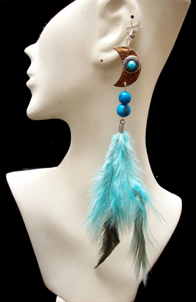 Lot 24 Peruvian Loners Earrings Handmade Feathers and Coconut