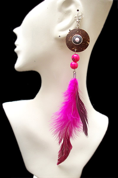 06 Peruvian Loners Earrings Handmade Feathers and Coconut Shell