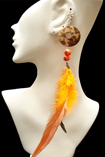 12 Pretty Peruvian Loners Earrings Handmade Feathers and Coconut