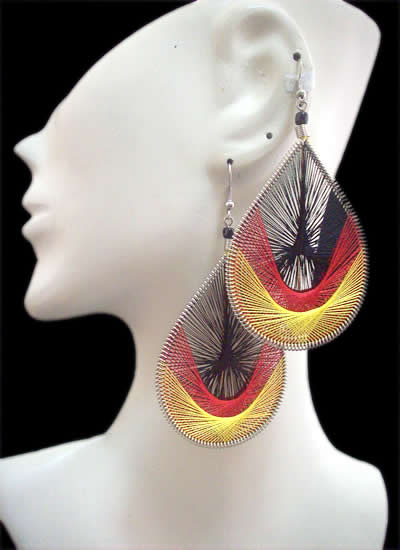Classic Design Teardrop Peruvian Thread Earrings