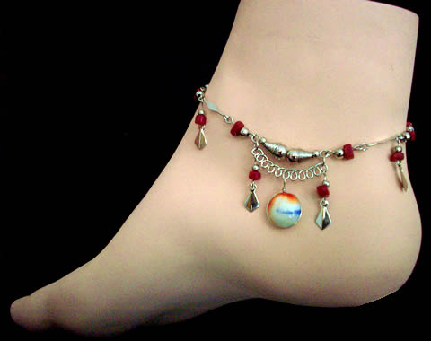 08 Alpaca Silver Anklets Handmade Murano Glass Assorted Designs