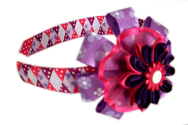 Beautiful Peruvian Hairband Handmade Satin Ribbon Flower Design