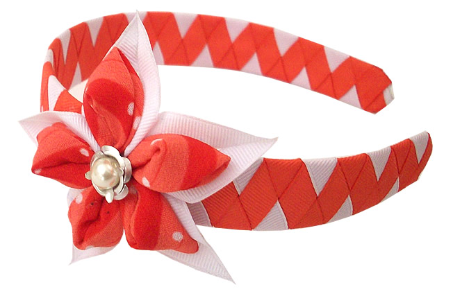 Peruvian Nice Hairband Handmade Satin Ribbon Flower Design