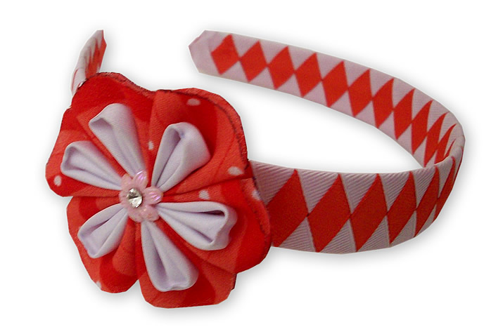 Peru Nice Hairband Handmade Satin Ribbon Flower Design