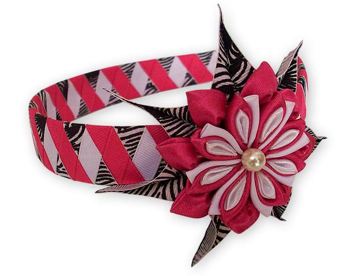 Pretty Peru Hairband Handmade Satin Ribbon Flower Design