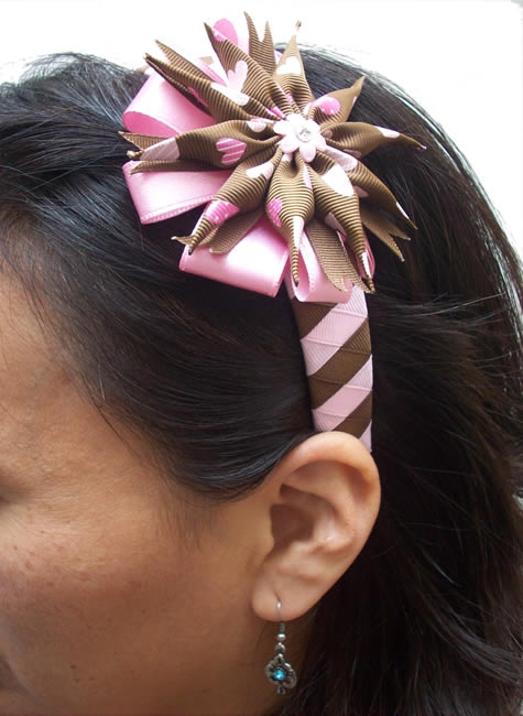 Peruvian Hairband Handmade Satin Ribbon Flower Design