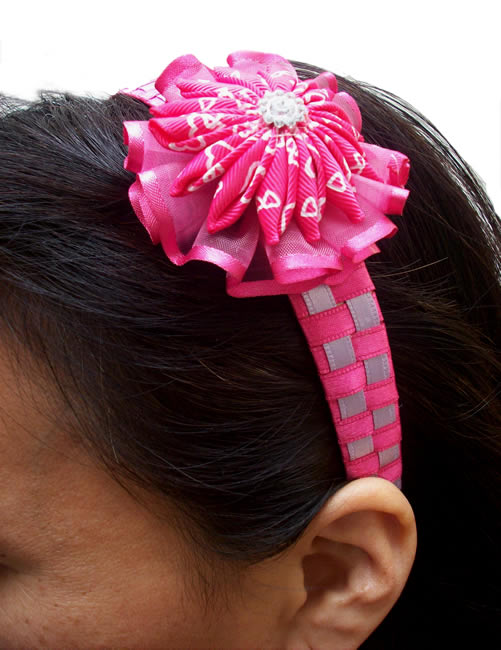 Precious Peruvian Hairband Handmade Satin Ribbon Flower Model