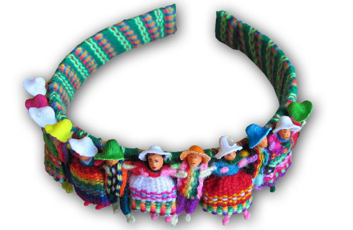 06 Pretty Peruvian Worry Dolls Hair Headband Andean Design