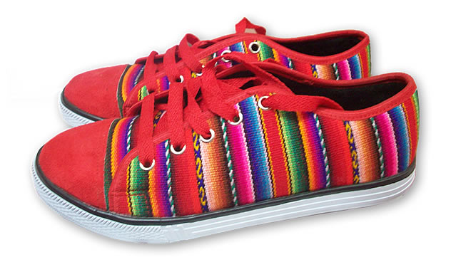 Beautiful Peruvian Cusco Blanket Andean Sneaker Red Color