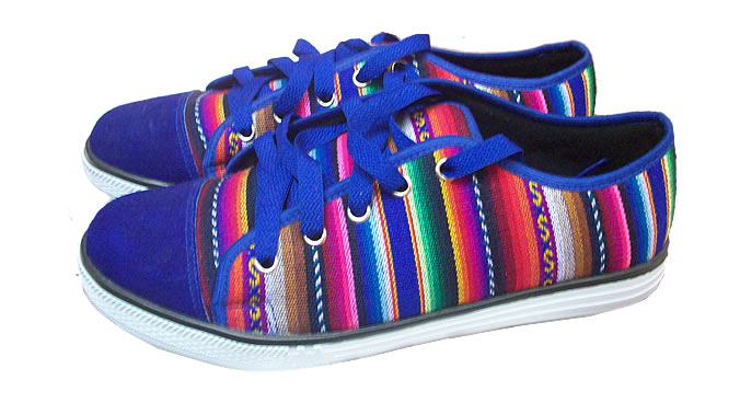 Pretty Peruvian Cusco Blanket Andean Sneaker Blue Color