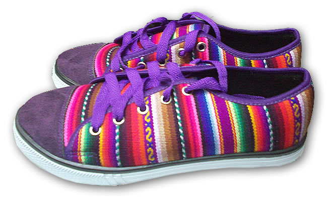 Nice Peruvian Cusco Blanket Andean Sneaker Purple Color