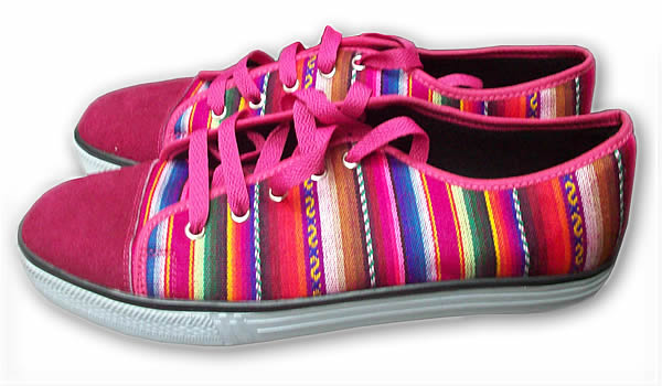 Cute Peruvian Cusco Blanket Andean Sneaker Fucsia Color