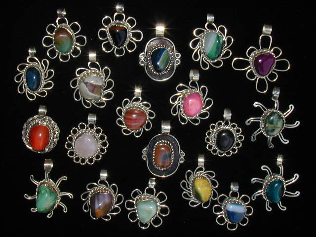 12 Gorgeous Agate Stone Pendants Necklaces Handmade Alpaca Silve