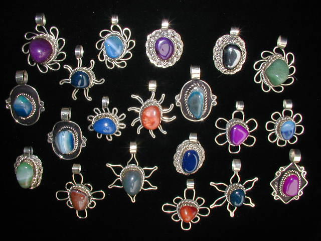 Lot 100 Agate Stone Pendants Necklaces Handmade Alpaca Silver