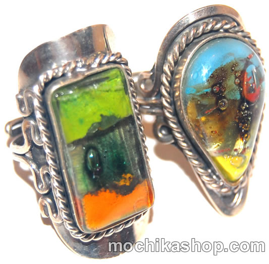 50 Wholesale Fused Glass Rings Peru Alpaca Silver Jewelry